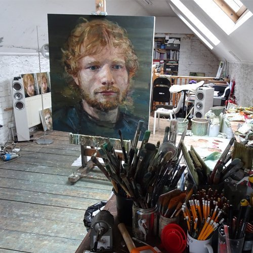Studio of Colin Davidson, Bangor, Belfast, with Ed Sheeran 2 on an easel and portrait oil studies behind (Photo by John Sheeran)